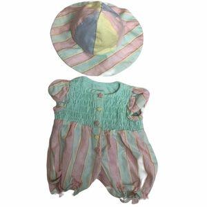 American Girl Bitty Baby picnic fun romper/sunhat